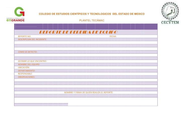 COLEGIO DE ESTUDIOS CIENTÍFICOS Y TECNOLOGICOS DEL ESTADO DE MEXICO                                               PLANTEL ...