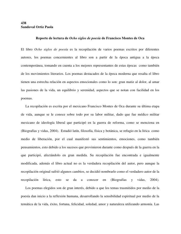 438Sandoval Ortiz Paola          Reporte de lectura de Ocho siglos de poesía de Francisco Montes de OcaEl libro Ocho siglo...
