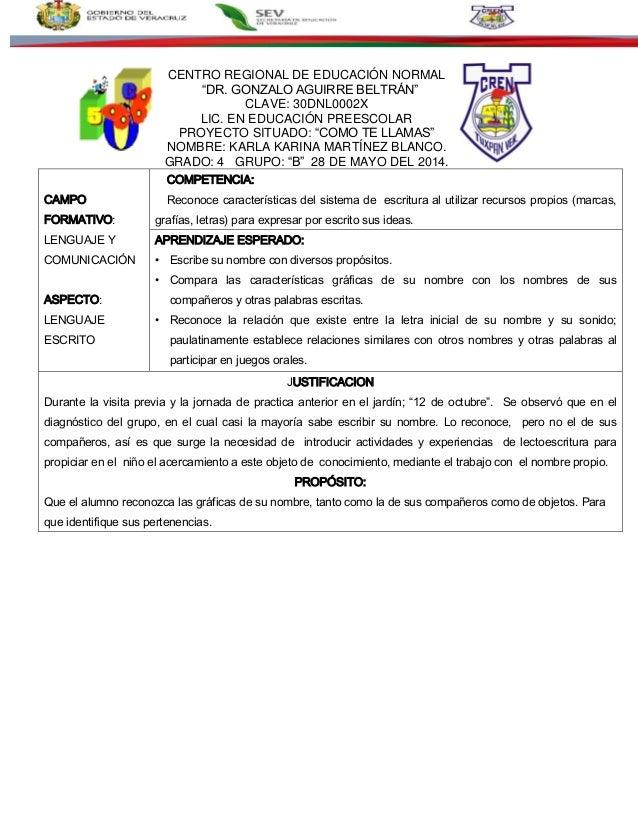 """CENTRO REGIONAL DE EDUCACIÓN NORMAL """"DR. GONZALO AGUIRRE BELTRÁN"""" CLAVE: 30DNL0002X LIC. EN EDUCACIÓN PREESCOLAR PROYECTO ..."""
