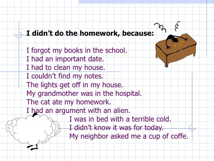 I didn't do my homework poem