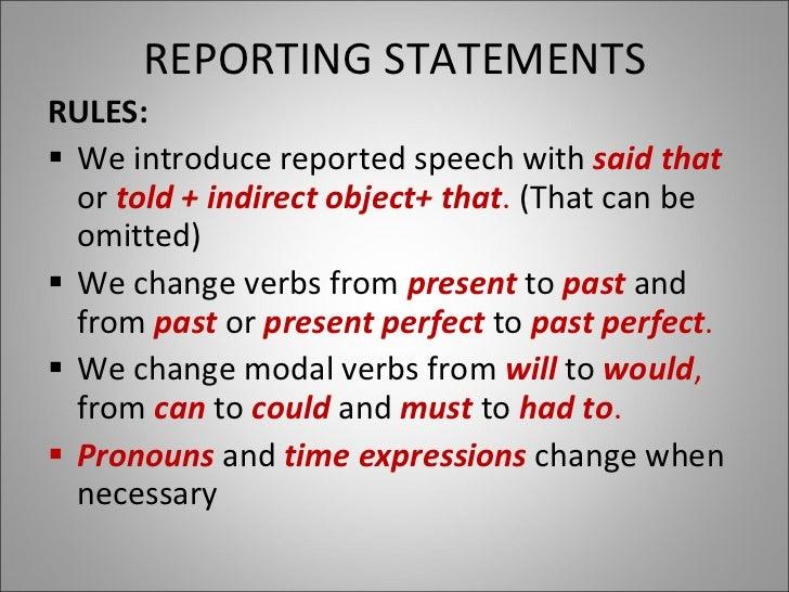 Reported speech Presentation Slide 2