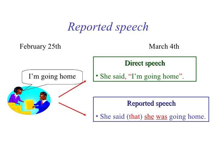Reported speechFebruary 25th                         March 4th                              Direct speech  I'm going home ...