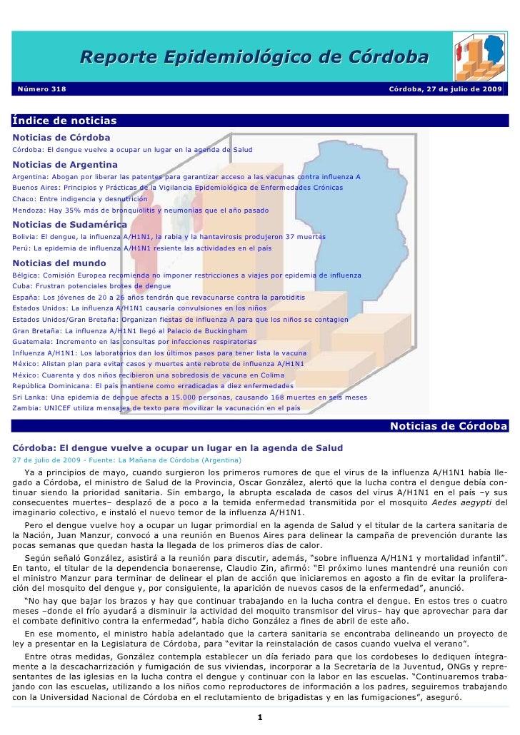 Reporte Epidemiológico de Córdoba  Número 318                                                                             ...