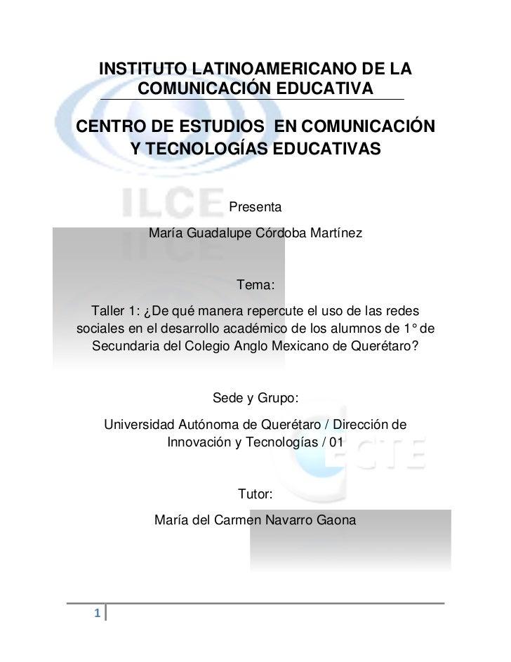 INSTITUTO LATINOAMERICANO DE LA       COMUNICACIÓN EDUCATIVACENTRO DE ESTUDIOS EN COMUNICACIÓN     Y TECNOLOGÍAS EDUCATIVA...