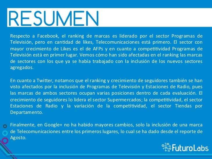 """1    Facebook              a)   Ranking de marcas en Facebook              b)   """"Likes"""" por sector  ..."""