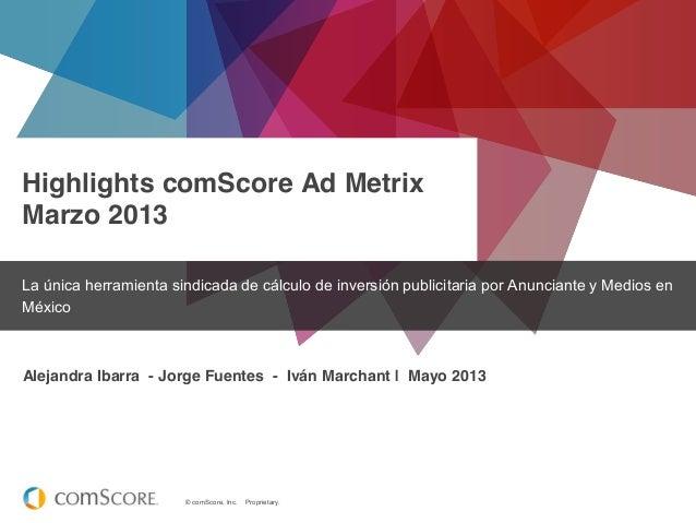 © comScore, Inc. Proprietary. Highlights comScore Ad Metrix Marzo 2013 La única herramienta sindicada de cálculo de invers...