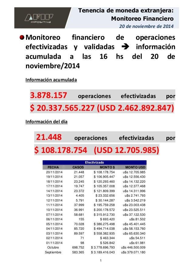 1 Tenencia de moneda extranjera: Monitoreo Financiero 20 de noviembre de 2014 Monitoreo financiero de operaciones efectivi...