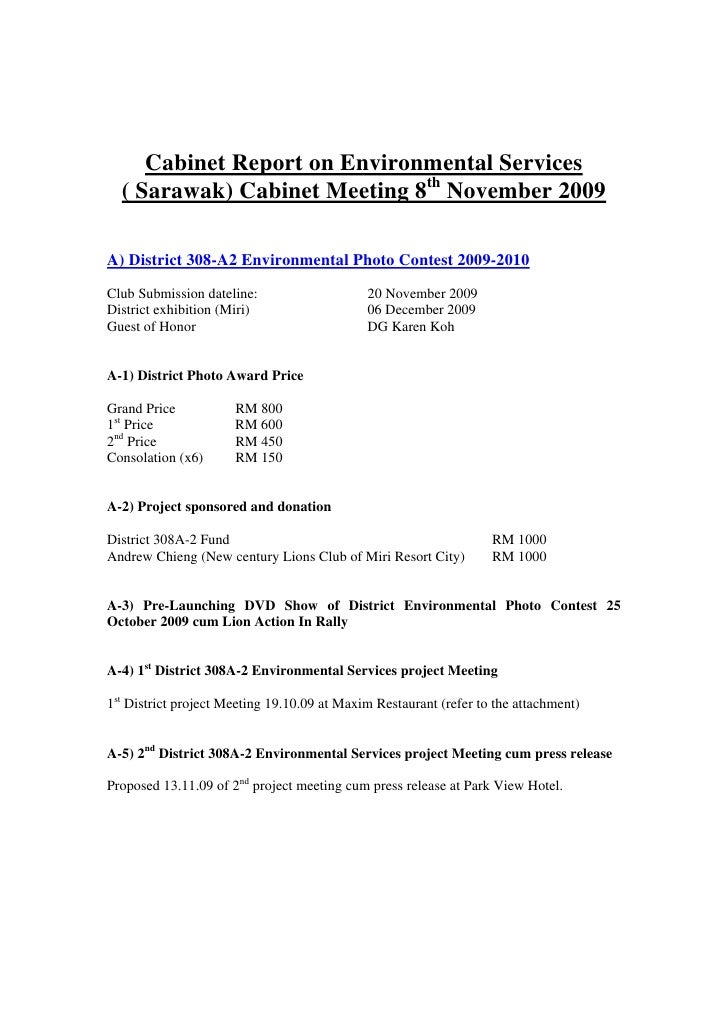 Cabinet Report on Environmental Services   ( Sarawak) Cabinet Meeting 8th November 2009  A) District 308-A2 Environmental ...