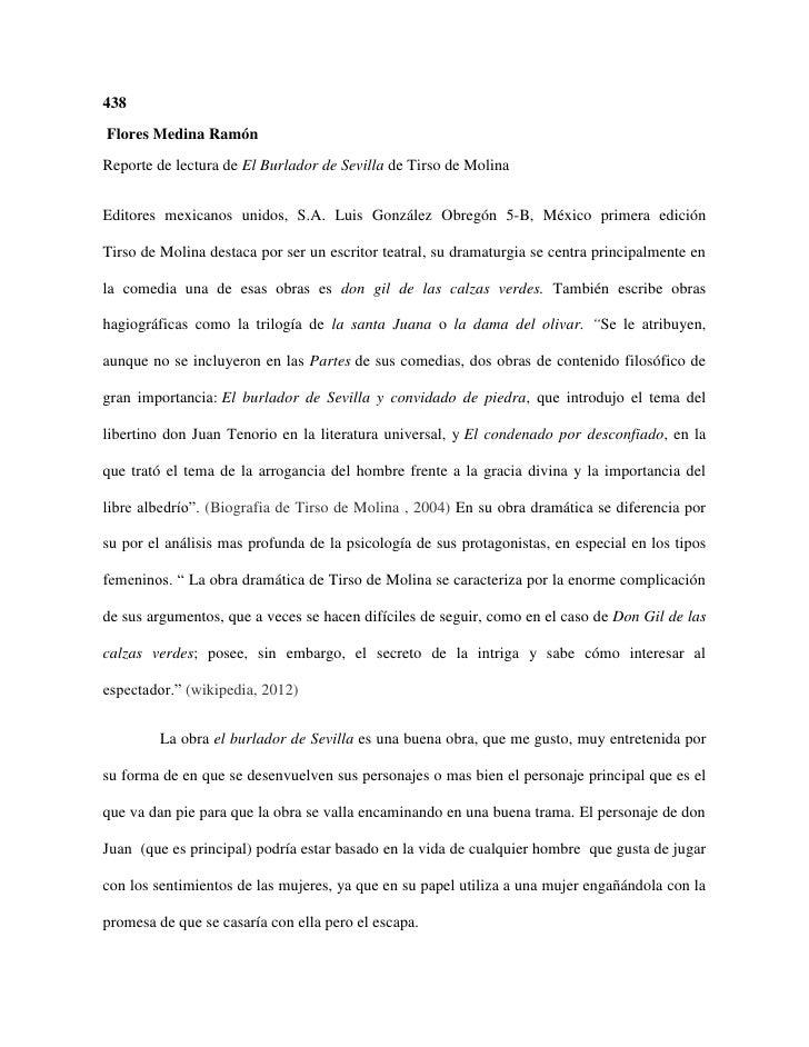 438Flores Medina RamónReporte de lectura de El Burlador de Sevilla de Tirso de MolinaEditores mexicanos unidos, S.A. Luis ...