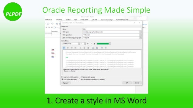 how to use ms word styles in oracle pdf reporting