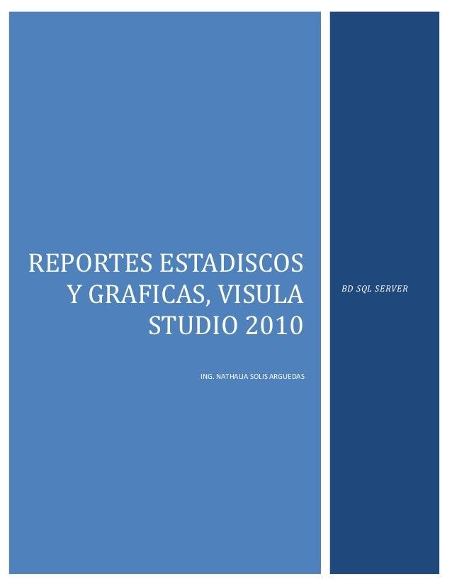 REPORTES ESTADISCOS  Y GRAFICAS, VISULA                       BD SQL SERVER        STUDIO 2010            ING. NATHALIA SO...