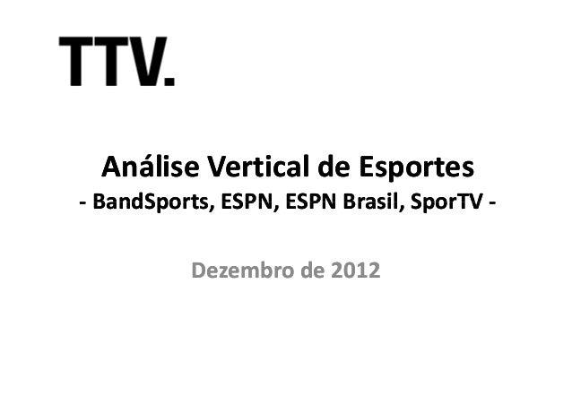 Análise Vertical de Esportes- BandSports, ESPN, ESPN Brasil, SporTV -  BandSports,          Dezembro de 2012