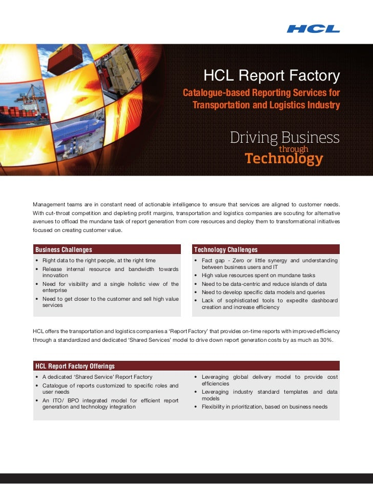 HCL Report Factory                                                             Catalogue-based Reporting Services for     ...