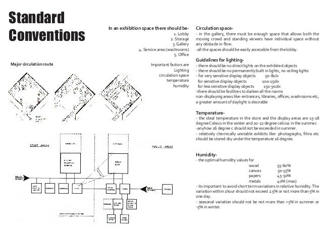 Standard Conventions Circulation space- - in the gallery, there must be enough space that allows both the moving crowd and...