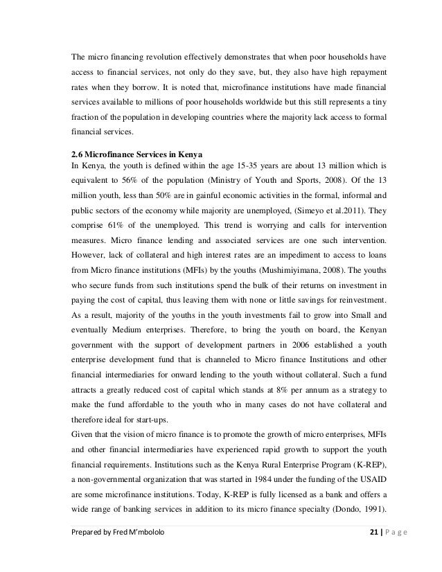 dissertation on the impacts of microfinance in kenya final report