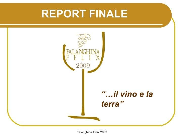 """REPORT FINALE """"… il vino e la terra"""""""