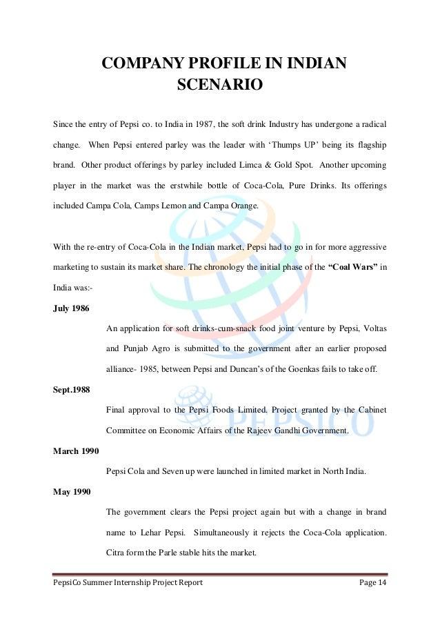 summer pepsi project report in marketing of pepsico