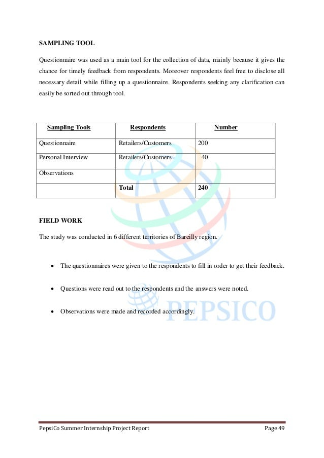 report on pepsico A report based on a market research intending to find out product   availability of products for pepsico india holdings pvt ltd a.