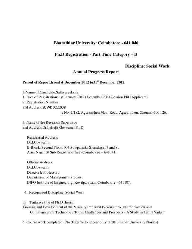 Progress report for phd student