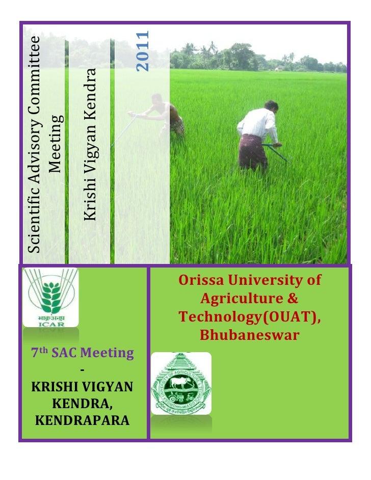 Orissa University of Agriculture & Technology(OUAT), Bhubaneswar7th SAC Meeting-KRISHI VIGYAN KENDRA, KENDRAPARA-436880470...