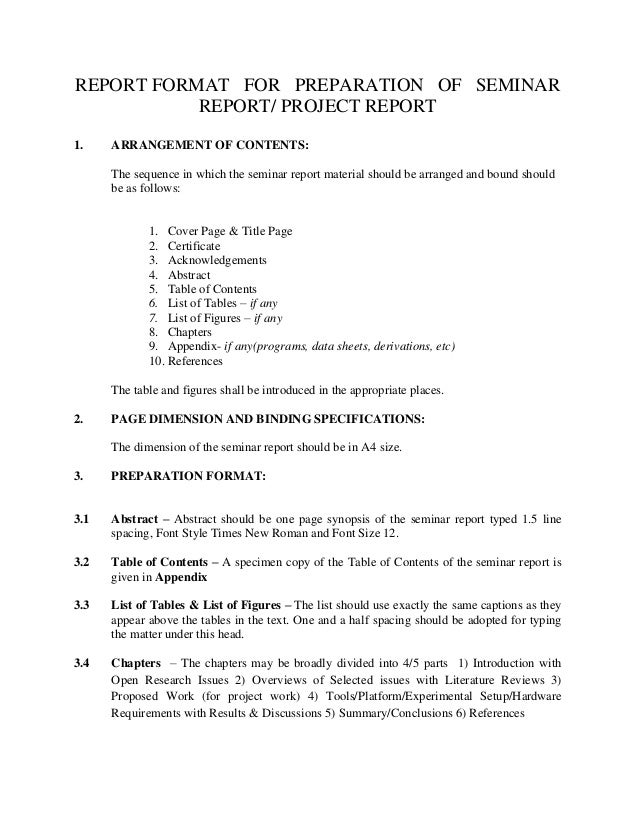 Report format projectseminar report format for preparation of seminar report project report 1 yelopaper Images