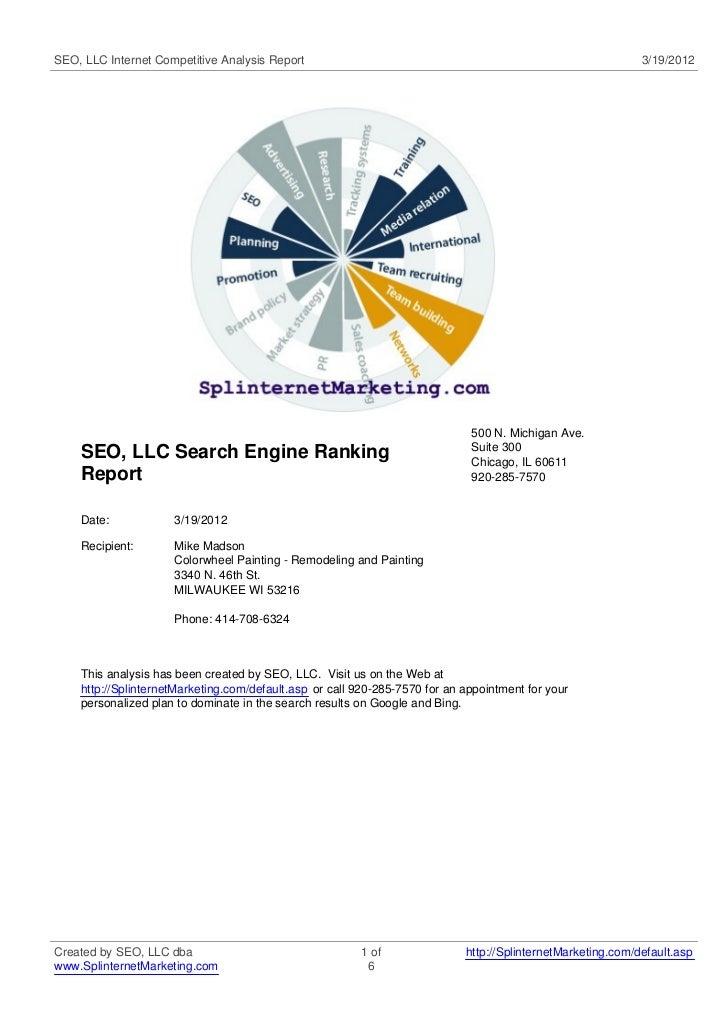 SEO, LLC Internet Competitive Analysis Report                                                                3/19/2012    ...