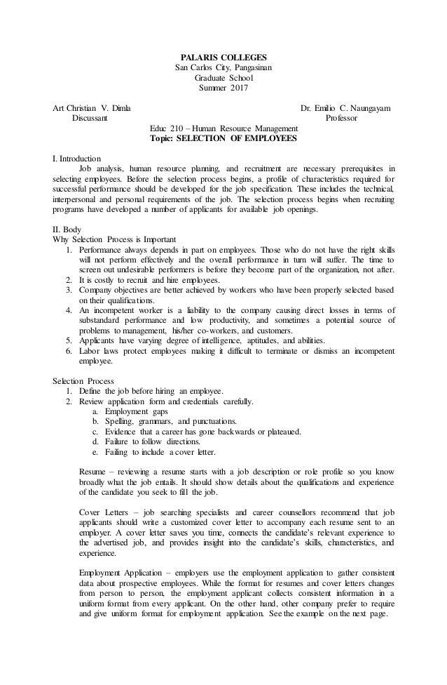 Selection of Employees – Employee Uniform Form