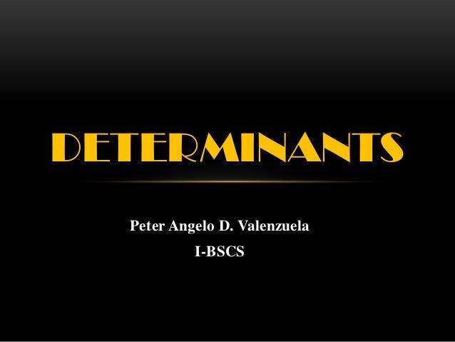 Peter Angelo D. Valenzuela I-BSCS DETERMINANTS