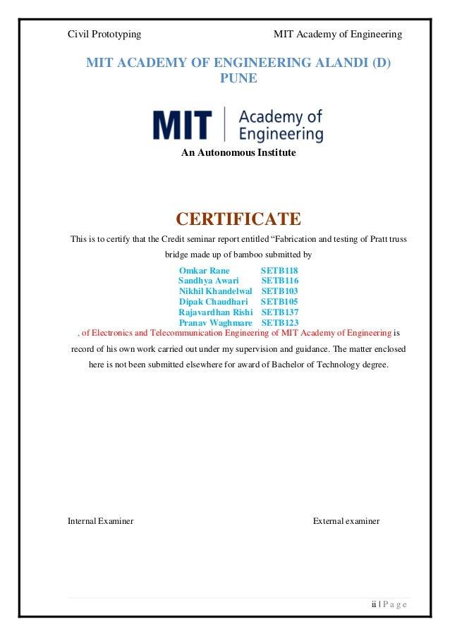 Civil Prototyping MIT Academy of Engineering ii   P a g e MIT ACADEMY OF ENGINEERING ALANDI (D) PUNE An Autonomous Institu...