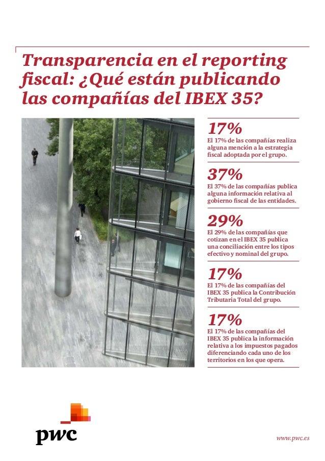 www.pwc.es Transparencia en el reporting fiscal: ¿Qué están publicando las compañías del IBEX 35? 17% El 17% de las compañ...