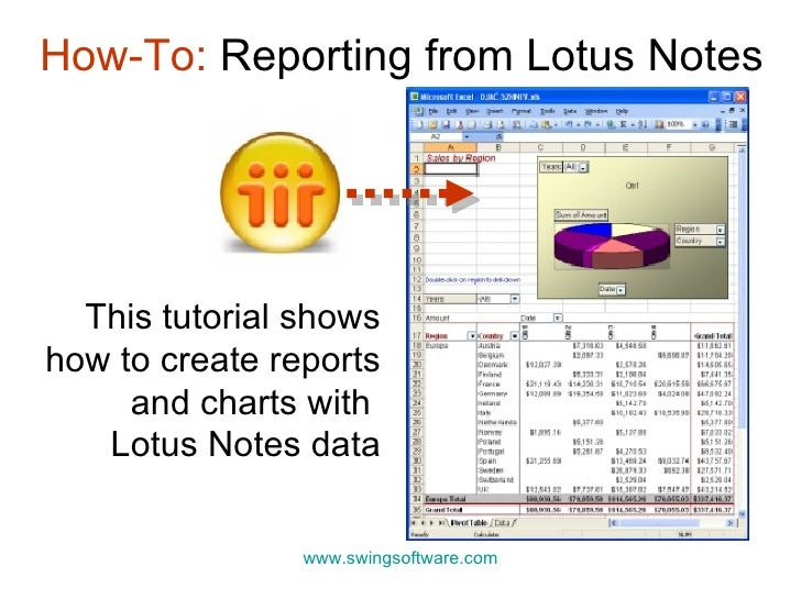 This tutorial shows how to create reports and charts with  Lotus Notes data How-To:  Reporting from Lotus Notes www.swings...