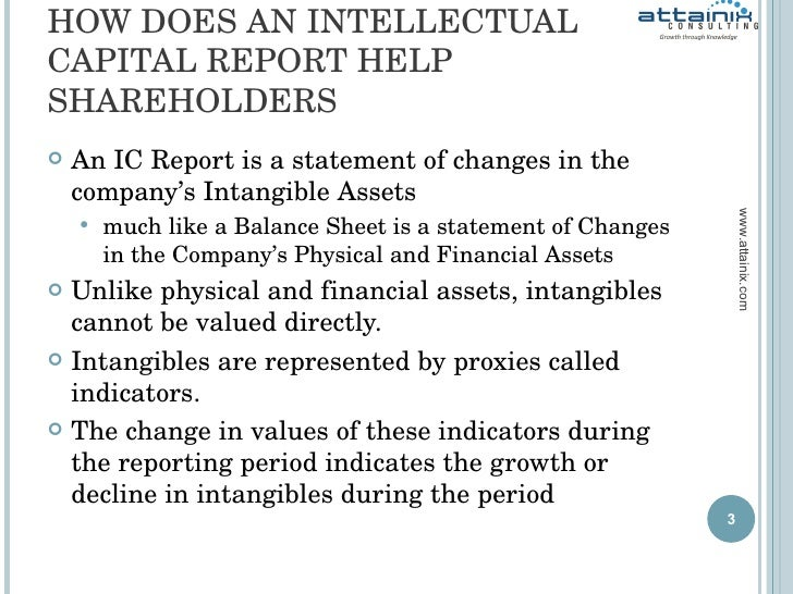 HOW DOES AN INTELLECTUAL CAPITAL REPORT HELP SHAREHOLDERS <ul><li>An IC Report is a statement of changes in the company's ...