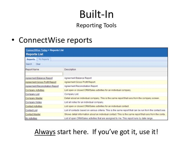 ConnectWise Reporting Tools Overview