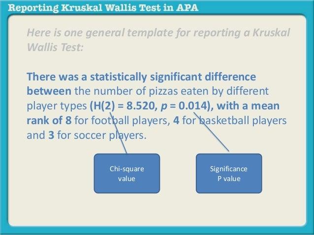 Reporting A Kruskal Wallis Test