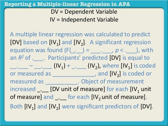 Reporting A Multiple Linear Regression In Apa