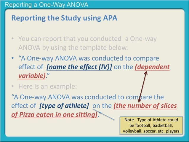one way anova Analysis of variance (anova) is a commonly used statistical technique for investigating data by comparing the means of subsets of the data the base case is the one-way anova which is an extension of two-sample t test for independent groups covering situations where there are more than two.