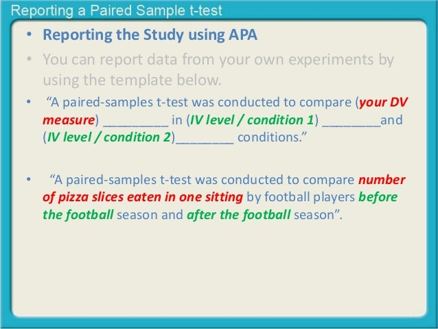 reporting a paired sample t test