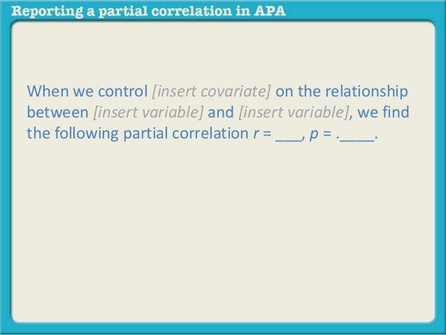 reporting a partial correlation in apa