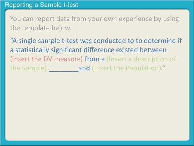Reporting a single sample t- test revised