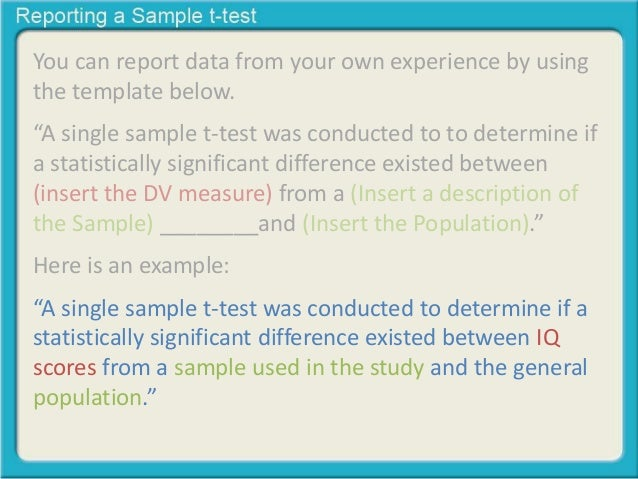 Reporting a single sample t-test
