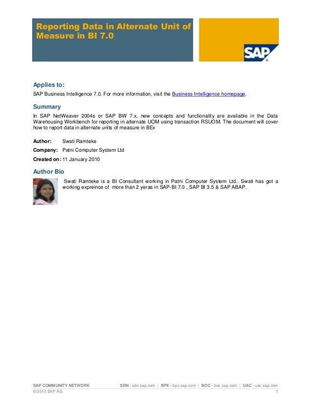 SAP COMMUNITY NETWORK SDN - sdn.sap.com   BPX - bpx.sap.com   BOC - boc.sap.com   UAC - uac.sap.com © 2010 SAP AG 1 Report...