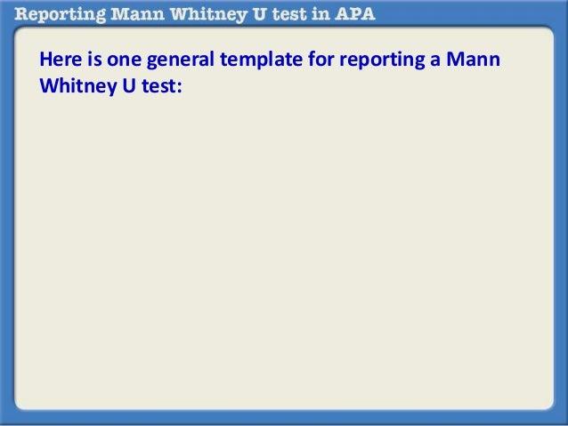 reporting mann whitney u test in apa