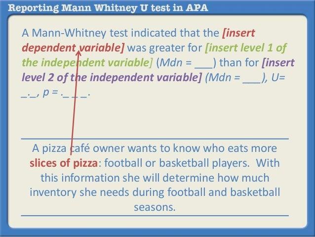 how to write mann whitney u test results
