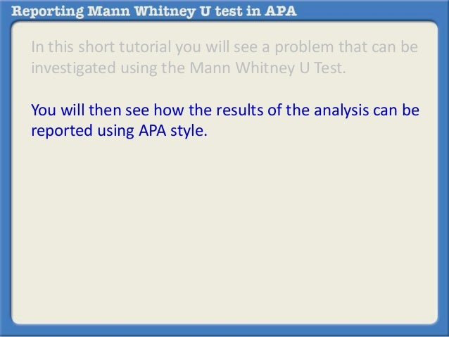 reporting mann whitney u test in apa