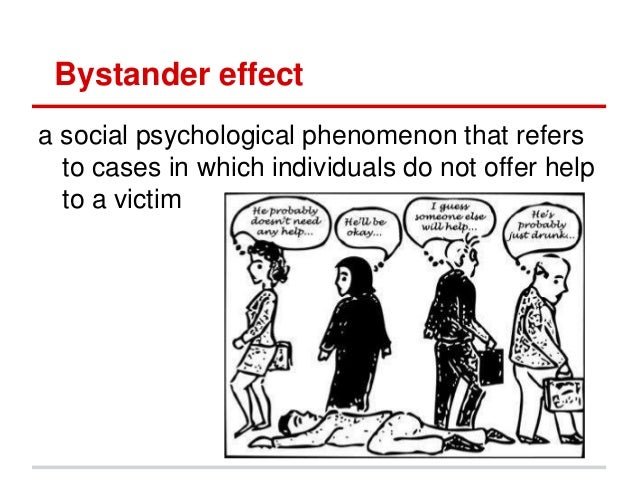 """the problem of bystander effect among crime witnesses Is 'bystander effect' why no one called 911 about abusive videos bystander effect"""" of watching a crime witnesses is a huge and long-standing problem."""