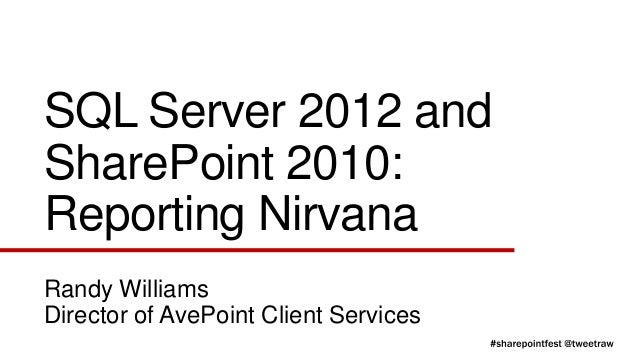 SQL Server 2012 andSharePoint 2010:Reporting NirvanaRandy WilliamsDirector of AvePoint Client Services