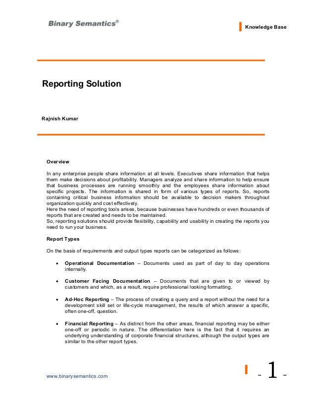 professional business reports
