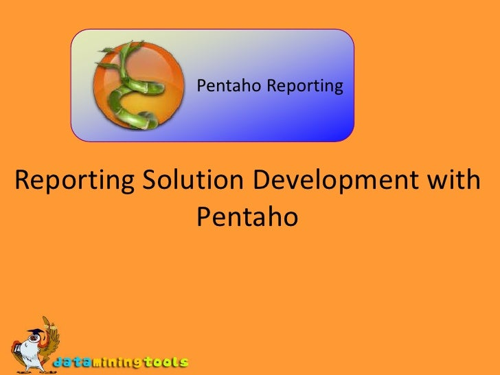 Reporting Solution Development with Pentaho<br /> Pentaho Reporting<br />