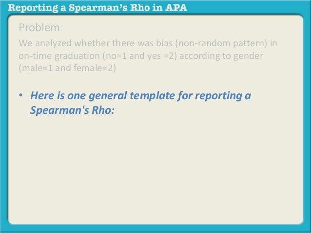 Reporting Spearman Rho In Apa