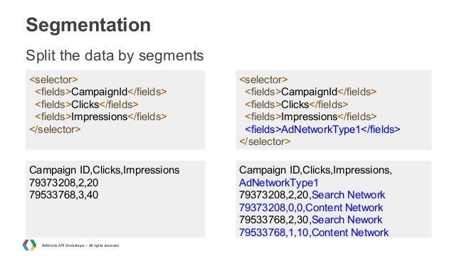 Segmentation Split the data by segments <selector> <fields>CampaignId</fields> <fields>Clicks</fields> <fields>Impressions...